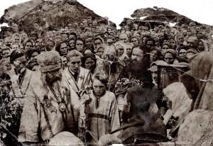 Архиєрейська служба,хресна хода.На фото Архиєрей Іларіон Прохоров(1945-1951рр.)